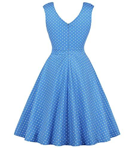 Vestito puntini Plus Annata Donne Size Stile Dall'oscillazione Aecibzo Delle 1950 Party Rockabilly Cocktail Blu BgUTpqxx