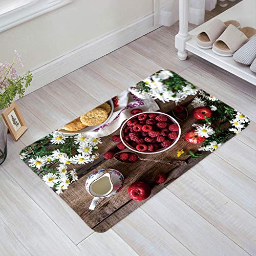 - Prime Leader Doormats for Entrance Way Indoor Raspberry Flower Teacup Apple Food Welcome Mats 18
