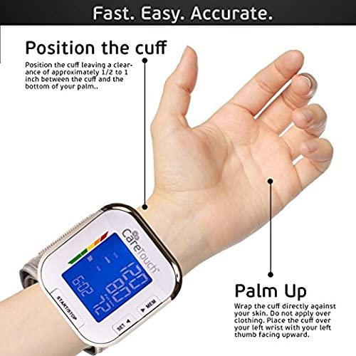 Care Touch Fully Automatic Wrist Blood Pressure Cuff Monitor – Re-Certified Platinum Series, 5.5 – 8.5 Cuff Size