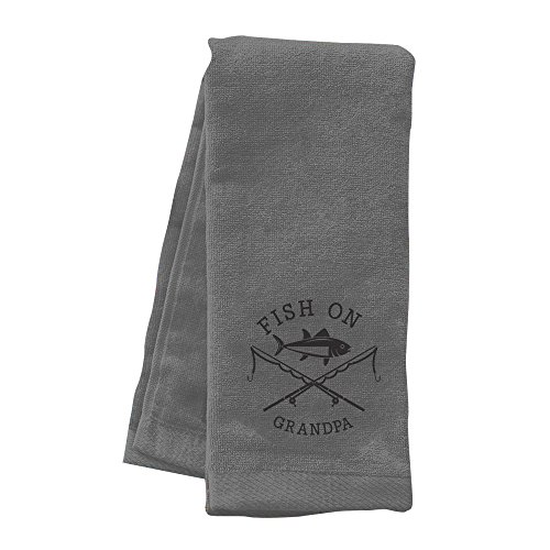 GiftsForYouNow Embroidered Fish On Personalized Fishing Towel, Grey by GiftsForYouNow