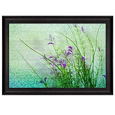 Small Purple Flowers with Blue and Green Circles Along with Branches with Leaves Over Wooden Panels Nature Framed Art, Crafted to Perfection, Pretty Composition