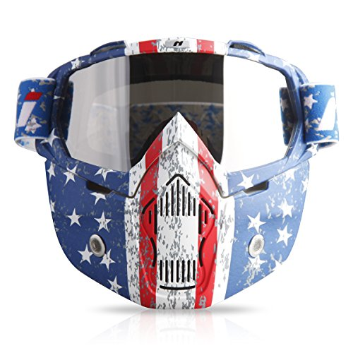 NENKI MX Goggles NK-1019 For 3/4 Retro Motorcycle helmets Motocross Trial helmet With Removable Face Mask (Irridium Silver Lens, US Flag Style Graphic, Patriot - Around Crystals Face