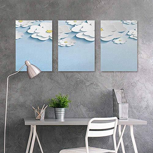 (BE.SUN Art Oil Painting Sticker Murals,Flowers,Abstract 3D Style Effect Cherry Blossoms Modern Spring Sakura Pattern,Office Art Decoration 3 Panels,16x31inchx3pcs,Light Blue and White)