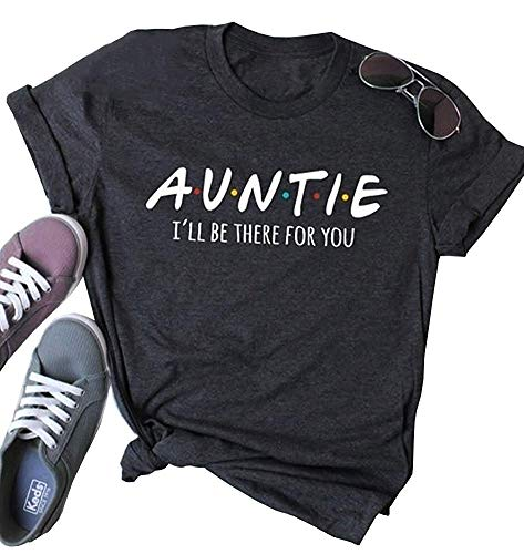 Auntie Shirt for Women Short Sleeve Casual T-Shirt with Saying Funny Tv Show Tees Shirt Dark Grey ()