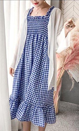 Jaycargogo Été Les Plaids Sans Manches Femmes Robes Chemise Décontractée 4