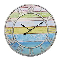 23-Inch Oversized Colorful Rustic Vintage Metal & Wood Silent Non-Ticking Battery Operated Decorative Wall Clock with Blue Green Yellow Stripe and Large Roman Numerals