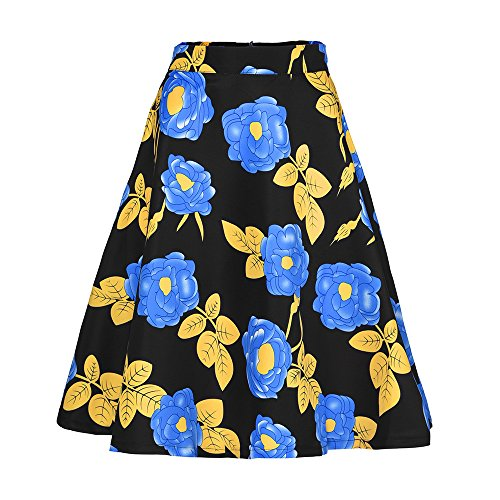 LULIKA T Pliss Elastiqu Imprim Floral Jupe Mini Taille Impression Femmes Patineur LGante Bleu Haute Vintage Jupe Extensible rqnrH0U