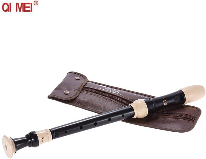 Flautas Dulces Alta Grabador Alto Profesional Estilo Alem/án 8 Agujeros Clave de G Instrumento Musical del Viento con Varilla de Limpieza Bolsa de Transporte Negro de ammoon QIMEI QM8A-23G