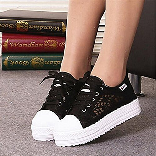 Summer Shoes Canvas Cutouts Shoes Breathable Casual Black Flat Women Floral Platform Shoes Lace Hollow UqnFUwRx