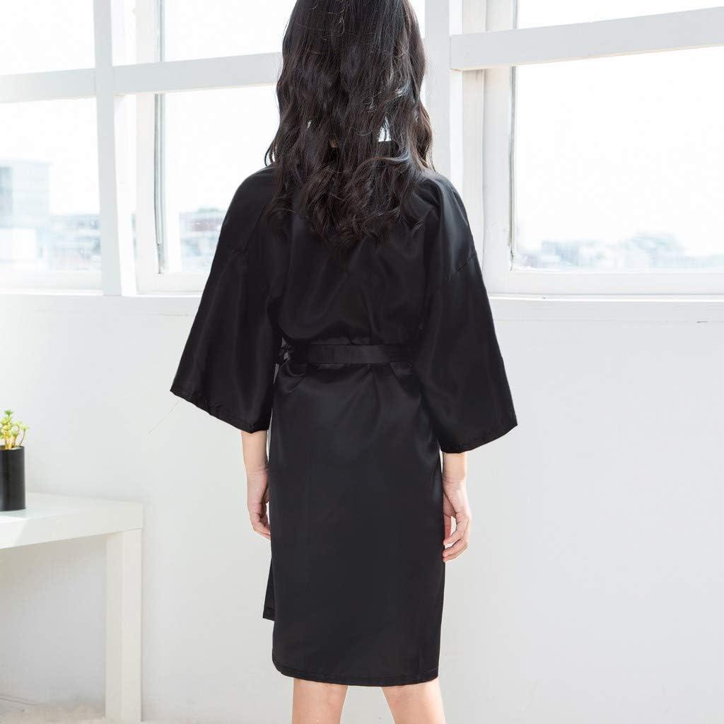 Grils Kids Satin Rayon Pure Kimono Robe Bathrobe for Spa Party Wedding Birthday Lingerie Sleepwear Nightgown