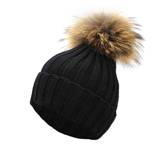 265df4f3bd3 iYBUIA New Winter Women Crochet Hat Fur Wool Knit Beanie Raccoon Warm Cap(  Black