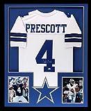 Dak Prescott Autographed/Signed Dallas Cowboys Custom Framed White Jersey
