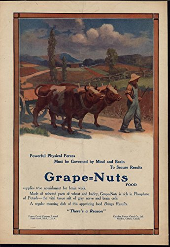 Cows Food Grape Nuts Helping Brain Cells 1912 antique advertising print
