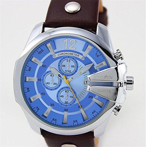 Amazon.com: 2015 CURREN Luxury Mens Watches Top Brand Leather Strap Quartz Watch Gold Watch Male Wristwatch: Watches