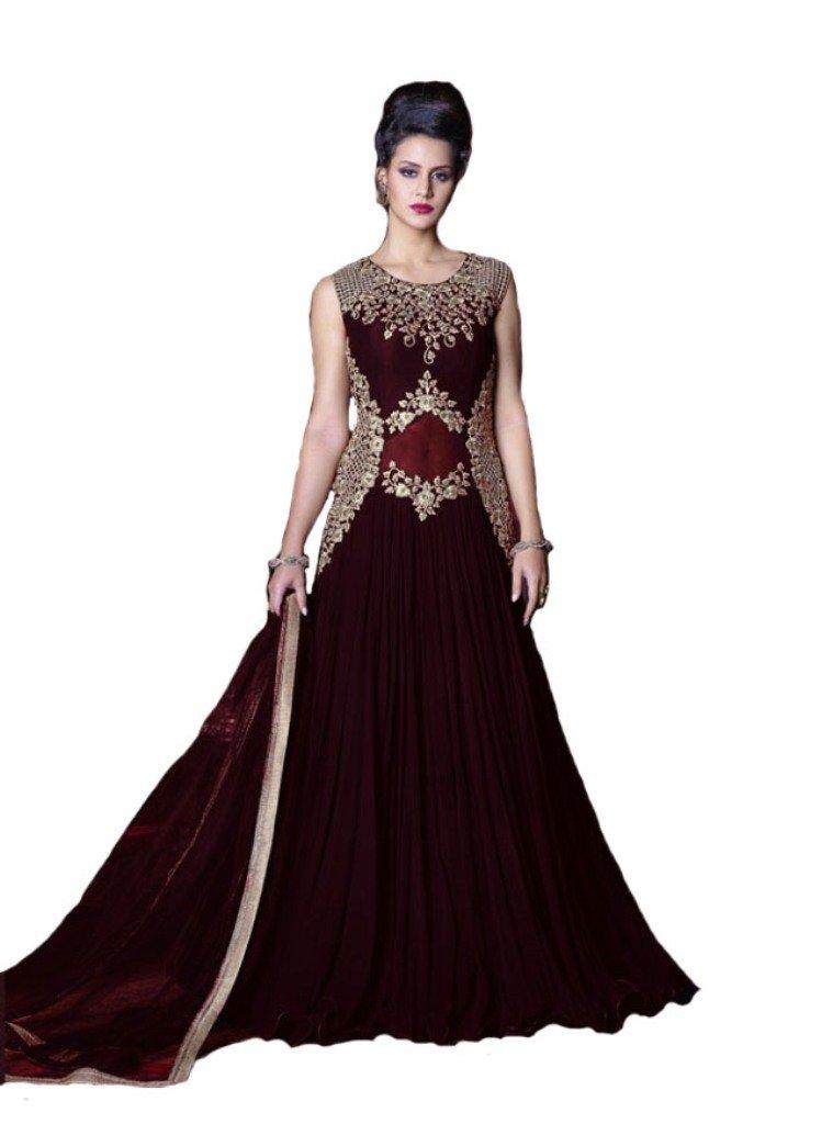 Ethnic Anakali Readymade Georgette Salwar Kameez Suit Indian Dress Violet .