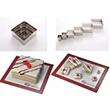Square Shape Leaf Steel Cookie Cake Cutter 1 deep set of 6 - Decorating tool by EURO TINS