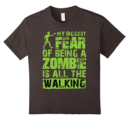 Zombie Clothing (Kids My Biggest Fear Of Being a Zombie Is All The Walking T-shirt 12 Asphalt)