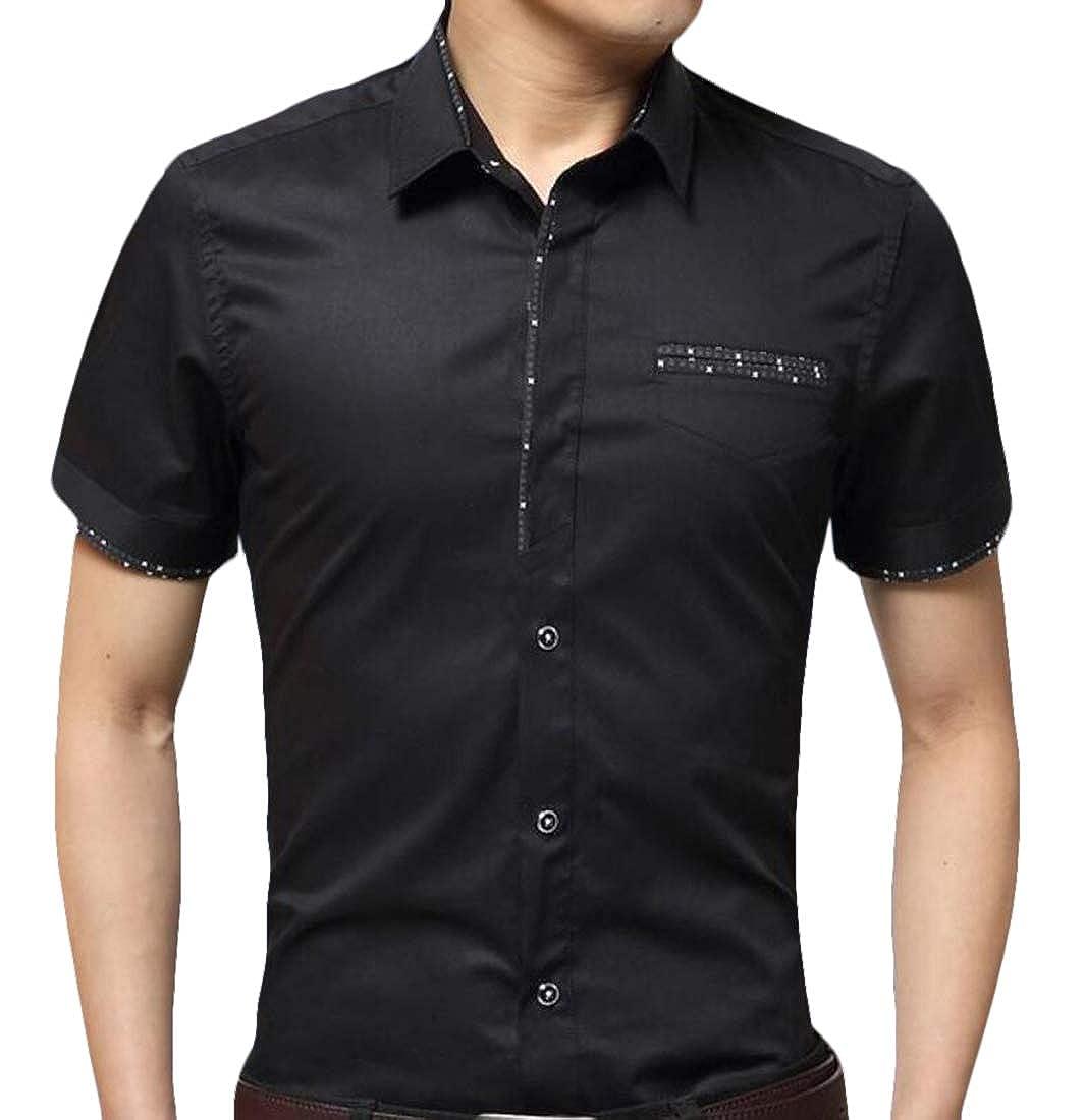 omniscient Men Business Dress Shirt Short Sleeve Casual Lapel Button Down Tops