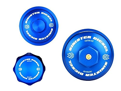 Sinister Diesel Sinister Diesel Billet Blue Cap Kit for Ford 6.0L