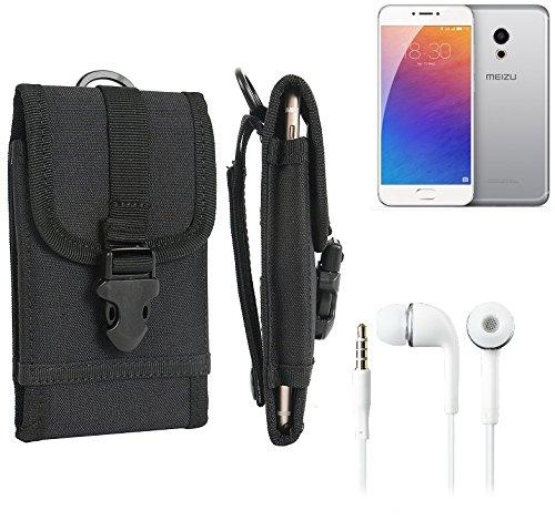 bolsa del cinturón / funda para Meizu Pro 6, negro + Auriculares   caja del teléfono cubierta protectora bolso - K-S-Trade (TM)