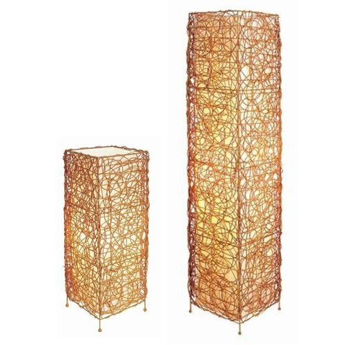 S.H. International Rectangle Rattan Lamp Set - Table and Floor Lamp