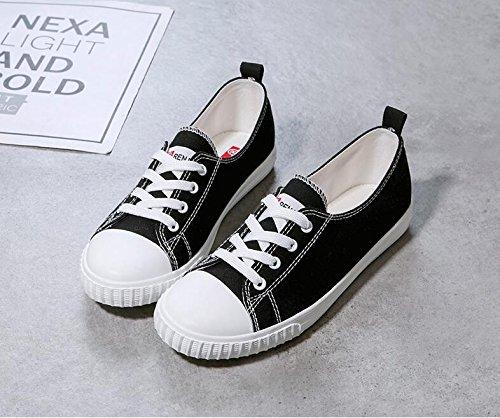 Estudiante Zapatos Alpargatas Inferior Calzado Koyi Retro Black Bottom de Pumps Casual Zapatillas Lona Para Mujer vXaqdSw
