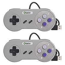 SNES Retro Controller ,Super SNES USB Controller Joystick Use With Nintendo PC Mac (Pack of 2)