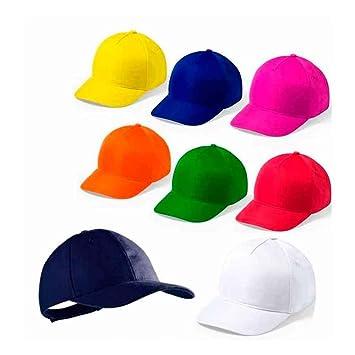 Gorra Infantil Ajustable de Colores. Lote de 20 Unidades. Regalo para los niños en Cumpleaños, Bodas, Comuniones, Fiestas del Colegio y excursiones.