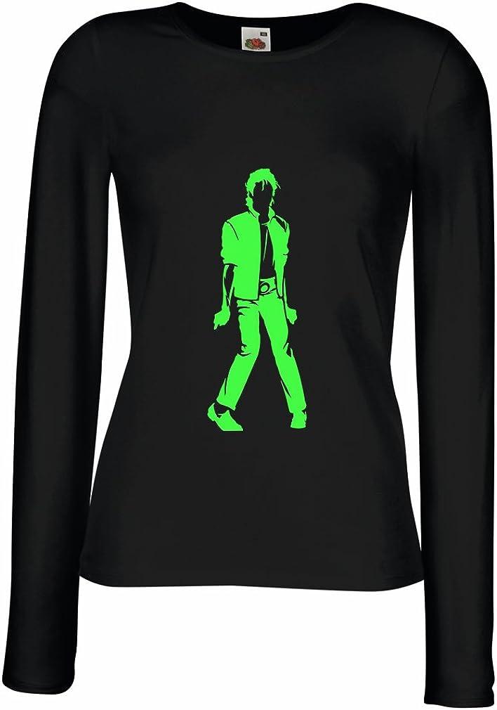 lepni.me Camisetas de Manga Larga para Mujer Me Encanta M J - Rey del Pop, 80s, 90s Músicamente Camisa, Ropa de Fiesta