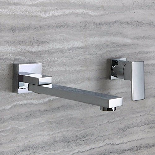 B) LHbox Basin Mixer Tap Bathroom Sink Faucet The wall-copper pan flush cold water basin embedded split water taps, B)