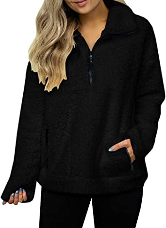 FOURSTEEDS Womens Casual Sherpa Fleece Pullover 1//4 Zipper Long Sleeve Collar Outwear Jacket Coat