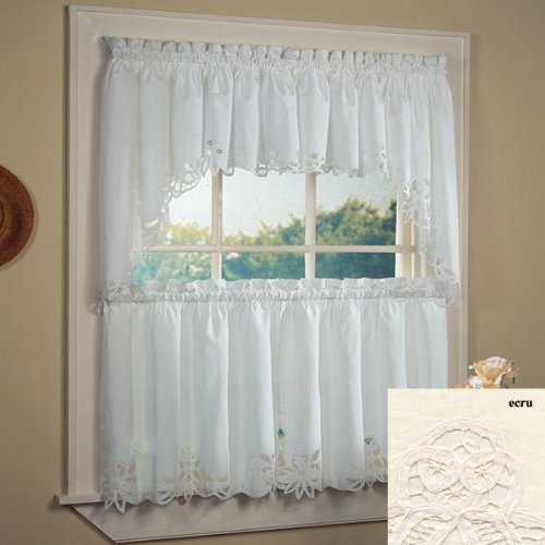- Fancy Collection 3pc Off White with Embroidered Kitchen/cafe Curtain Tier and Swag Set Battenburg