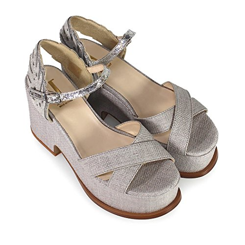 Jeannot Women's Shoes Grey Canvas Sandal Spring Summer 2018 O2B1Xo5BB