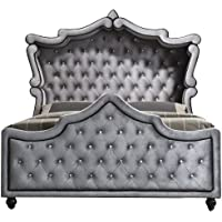 Meridian Furniture Hudson-Canopy-K Hudson Collection Grey Velvet Upholstered Canopy Bed with Crystal Button Tufting, and Custom Solid Wood Legs, Grey, King