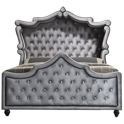 Meridian Furniture Hudson-Canopy-K Hudson Collection Grey Velvet Upholstered Canopy Bed with Crystal Button Tufting, and Custom Solid Wood Legs, Grey, King ()