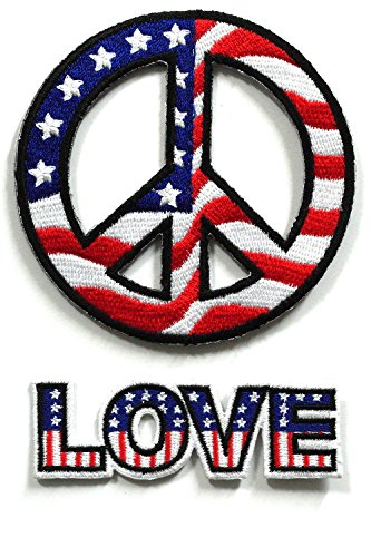 Set_USA001 - Peace Sign Patch Set - American Flag Patches - Usa flag Patch - Applique Embroidered patches - Iron on Patches -Size : Love Patches ( 9 X 3 Cm.), USA Peace Sign Patches ( 8 X 8 Cm.)