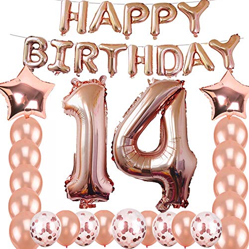 14th Birthday Decorations Party Supplies, Jumbo Rose Gold Foil Balloons for Birthday Party Supplies,Anniversary Events Decorations and Graduation Decorations Sweet 14 Party,14th Anniversary]()