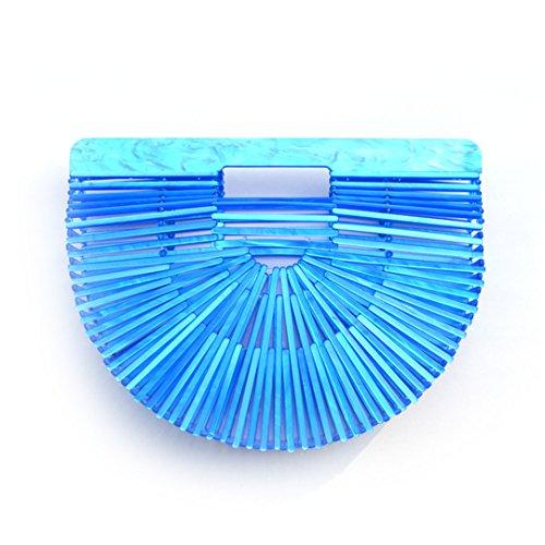 Sac Sacs Chic Demi De Sac Acrylique en à De FRGYHJK Fourre Ronde Main Plastique Plage Transparent Plage Tout Creux Blue Panier Été Vacances Bolso 5Hzqw