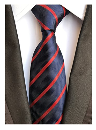 Men's Navy Blue Red Jacquard Woven Bar Silk Ties Evening Married Soft Neckties