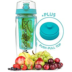 Acquablend Premium 32oz Jumbo Fruit Infuser Water Bottle includes additional Push-Pull Lid. Create Your Own Naturally Flavored Fruit Infused Water, Juice, Iced Tea & Sparkling Beverages (Aqua)