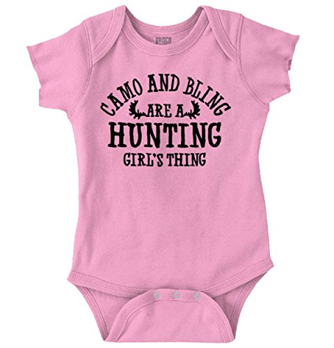 Camo Bling are Hunting Thing Girl Hunter Romper Bodysuit from Brisco Brands