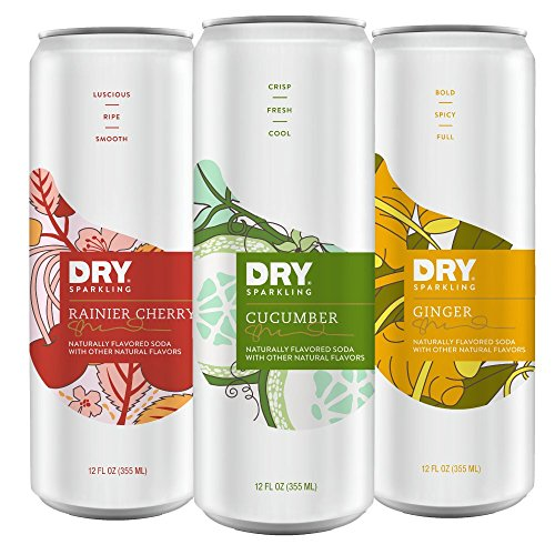 Dry Beverage (DRY Sparkling Rainier Cherry Cucumber & Ginger Variety Pack, 12 Count)