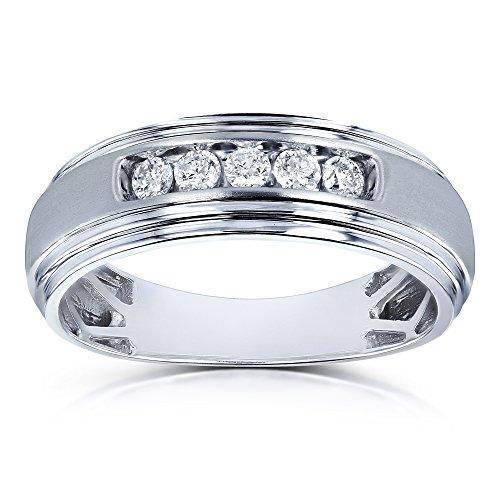 Tdw Wedding Ring Set (10k White Gold 1/4ct TDW Channel Diamond Men's Ring - Size 9)