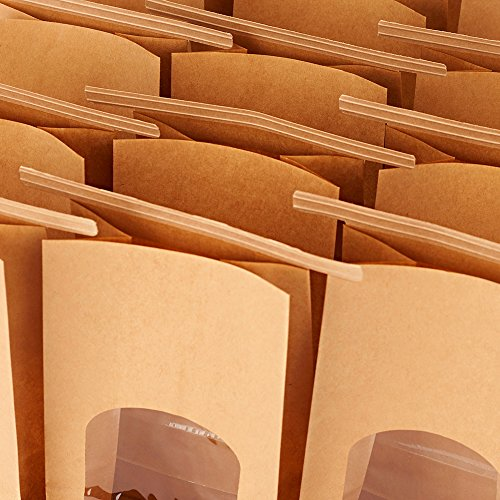 b0145930bc Halulu Bakery Bags Paper Treat Bags Resealable Kraft Paper Bags Cookie  Popcorn Bags with Windows, 4.5x2.36x9.6
