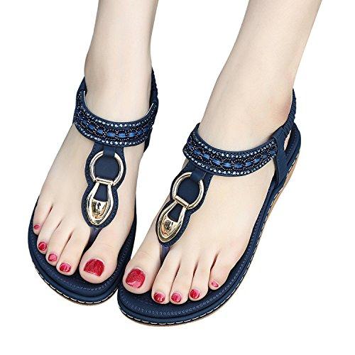 Zoerea Sandales Bohemia Été Femme Flat Bleu Cuir Chaussures En Foncé Pu Flip Flops rrYwxqCfdn