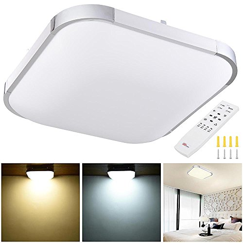 YesHom 36W 15 Modern Dimmable LED Ceiling Light Square Aluminum Flush Mount Remote Control Bedroom Living Room