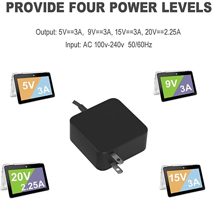 45W Type C AC Wall Charger for Lenovo Yoga 910 910-13IKB 910-13 910-131KB 80VF 80VG 80VF002JUS Laptop USB-C Power Supply Adapter Cord