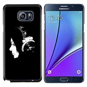 TECHCASE---Cubierta de la caja de protección para la piel dura ** Samsung Galaxy Note 5 ** --Música minimalista Muchacha de la música