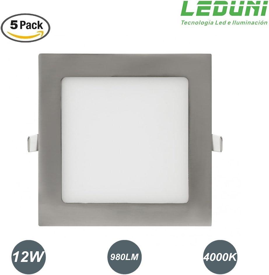 LEDUNI ® Pack 2 Unidades Downlight Panel LED NÍquel Cuadrado 12W 980LM Luz Neutra 4000K Angulo 120 IP44 175X175x22H MM Dimension de Corte 160x160MM: Amazon.es: Iluminación