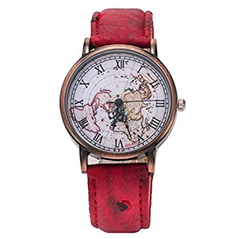 Buy unisex vintage world map watch red online at low prices in unisex vintage world map watch red gumiabroncs Gallery